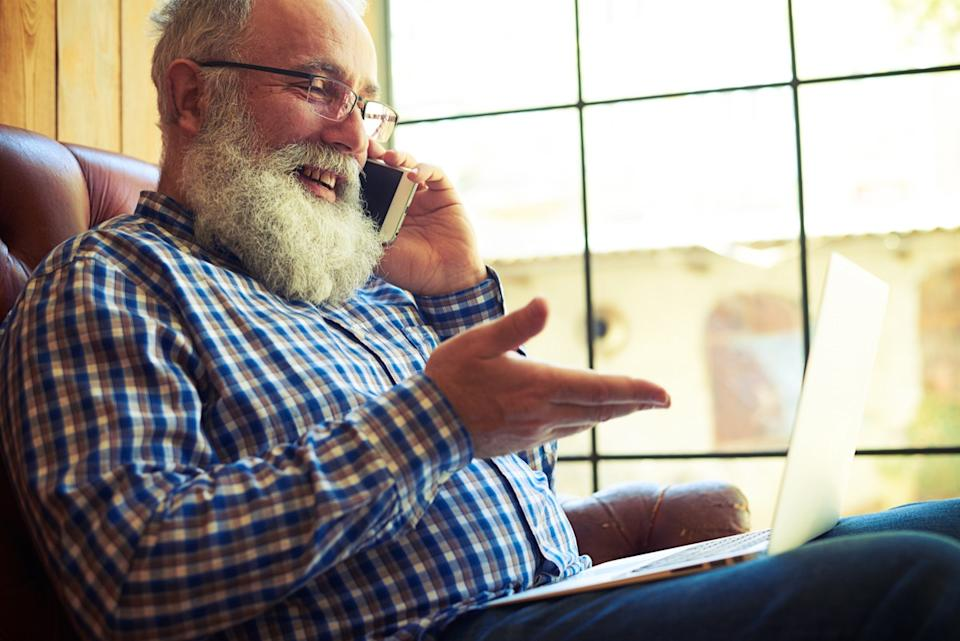Man on phone call with doctor's office