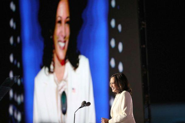 PHOTO: Vice President-elect Kamala Harris speaks on stage at the Chase Center before President-elect Joe Biden's address to the nation, Nov. 07, 2020, in Wilmington, Del. (Drew Angerer/Getty Images)