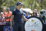 Henrik Stenson, of Sweden, addresses a fan after hitting a tee shot on the seventh hole during the third round of the Arnold Palmer Invitational golf tournament Saturday, March 9, 2019, in Orlando, Fla. (AP Photo/Phelan M. Ebenhack)
