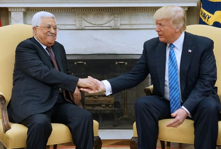 US President Donald Trump meets with Palestinian Authority President Mahmud Abbas in the Oval Office of the White House on May 3, 2017 in Washington, DC