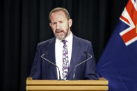 FILE - In this Aug. 5, 2019, file photo, New Zealand's then Justice Minister Andrew Little speaks to the media in Wellington, New Zealand. Now the Health Minister Little said Wednesday, April 21, 2021, that New Zealand will overhaul its fragmented healthcare system to create a new national service similar to the one revered by many in Britain. (AP Photo/Nick Perry, File)