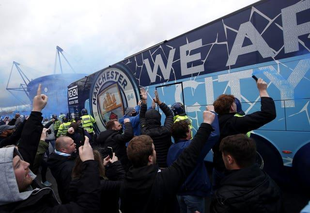 Manchester City fans gathered ahead of the match