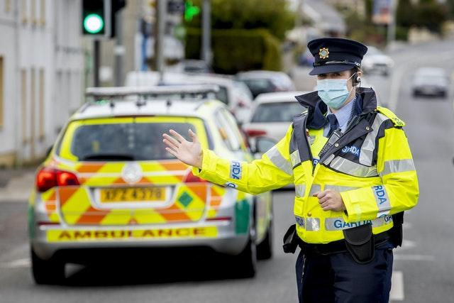 Members of An Garda Siochana performing random vehicle checks in the village of Muff, County Donegal, on the border with Northern Ireland (Liam McBurney/PA)