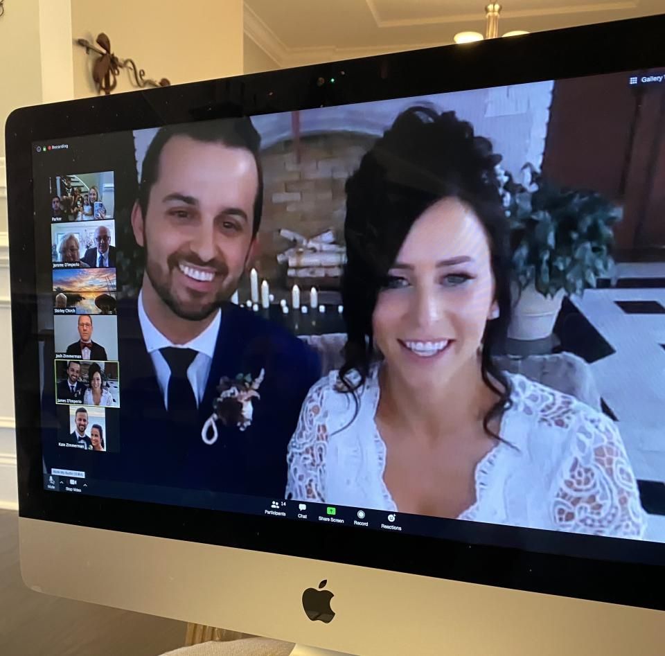 James and Kate D'Imperio postponed their Las Vegas wedding bash to wed over Zoom. (Photo: Courtesy of Kate D'Imperio)