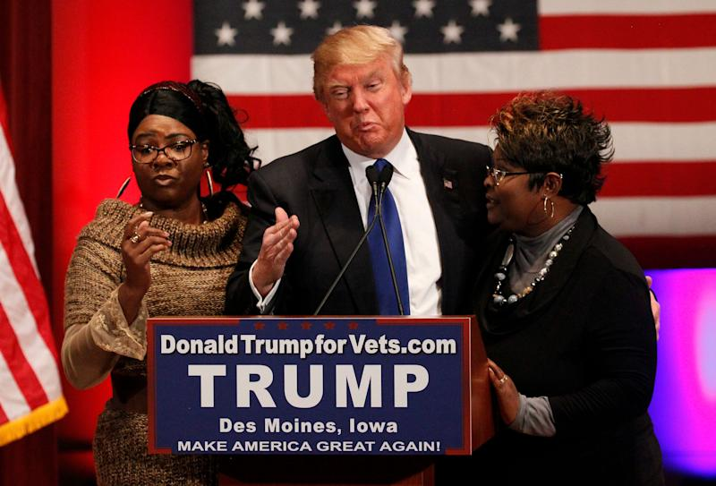 """The YouTube stars known as """"Diamond and Silk"""" appear with Donald Trump during his presidentialcampaign."""