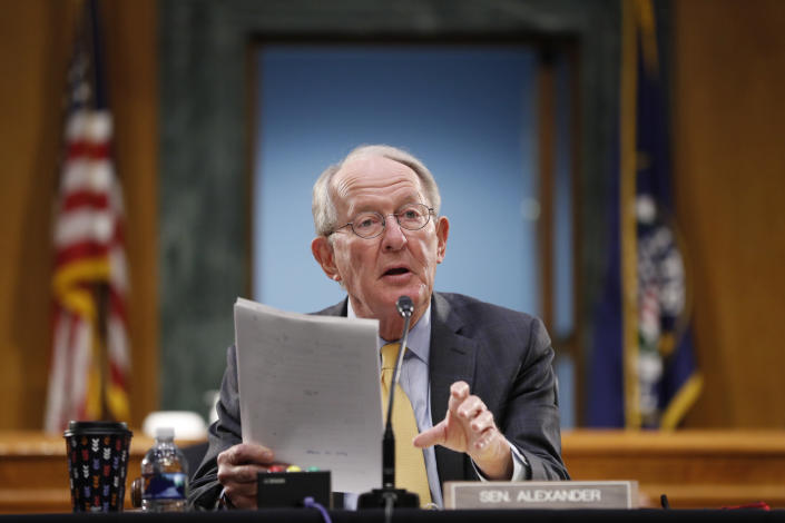 FILE - In this May 7, 2020, file photo Chairman Sen. Lamar Alexander, R-Tenn., gives his opening statement during a Senate Health Education Labor and Pensions Committee hearing on new coronavirus tests on Capitol Hill in Washington. (AP Photo/Andrew Harnik, Pool, File)