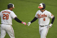 Baltimore Orioles' Ryan Mountcastle (6) celebrates his first-inning home run with Pedro Severino (28) during a baseball game against the Boston Red Sox, Monday, May 10, 2021, in Baltimore. (AP Photo/Terrance Williams)