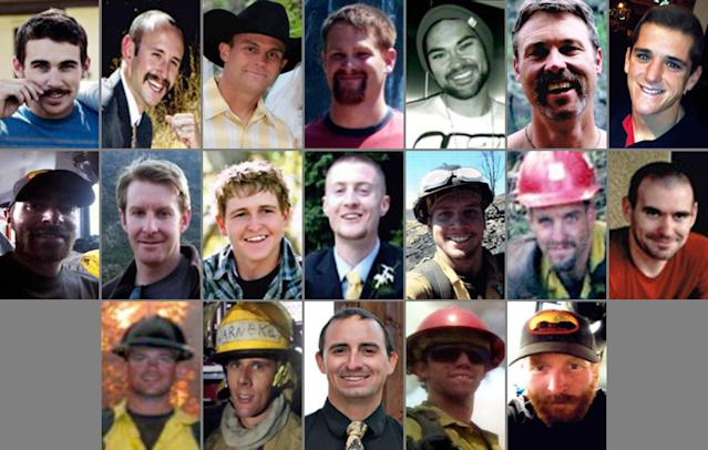 "This photo combination made with undated family photos provided via the City of Prescott, Ariz. shows the 19 firefighters killed battling an out-of-control wildfire in Yarnell, Ariz., on June 30, 2013. Top row, from left: Andrew Sterling Ashcraft, Robert Caldwell, Travis Carter, Dustin James DeFord, Chris Mackenzie, Eric Shane Marsh, and Grant Quinn McKee. Second row, from left: Sean Misner, Scott Daniel Norris, Wade Scott Parker, John Joseph Percin Jr., Anthony Michael Rose, Jesse James Steed, and Joe Thurston. Bottom row, from left: Travis Turbyfill, William Howard ""Billy"" Warneke, Clayton Thomas Whitted, Kevin Woyjeck, and Garret Zuppiger. (AP Photo/Family Photos via City of Prescott)"