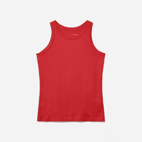 """Tank season is here and we love to switch up our white ones with some vibrant-colored ones, too. $18, Everlane. <a href=""""https://www.everlane.com/products/womens-organic-cotton-cutaway-tank-scarlet?collection=womens-sale"""" rel=""""nofollow noopener"""" target=""""_blank"""" data-ylk=""""slk:Get it now!"""" class=""""link rapid-noclick-resp"""">Get it now!</a>"""