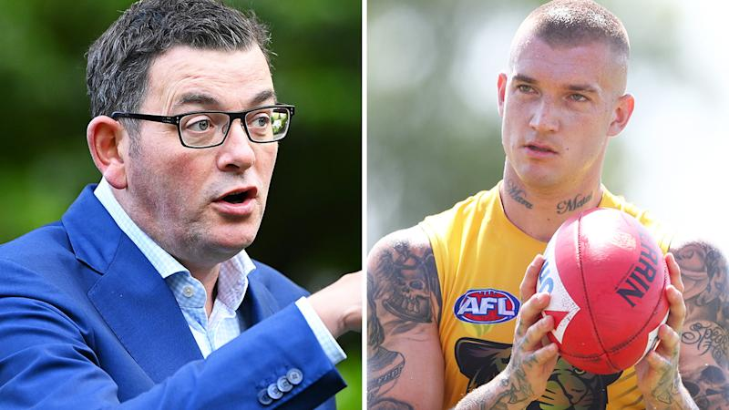 Victorian premier Daniel Andrews is pictured in a 50/50 split image next to Richmond Tigers player Dustin Martin.