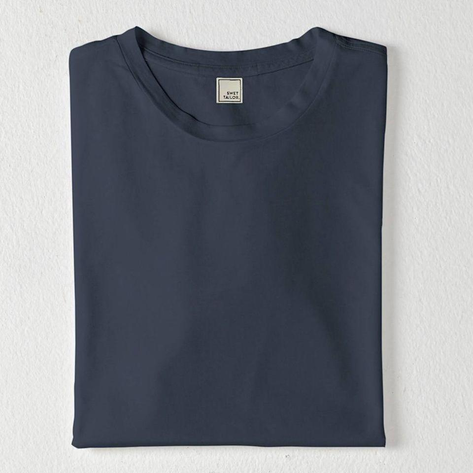 """<p>swettailor.com</p><p><strong>$54.00</strong></p><p><a href=""""https://swettailor.com/products/softest-t-navy"""" rel=""""nofollow noopener"""" target=""""_blank"""" data-ylk=""""slk:BUY IT HERE"""" class=""""link rapid-noclick-resp"""">BUY IT HERE</a></p><p>Swet Tailor's crazy-comfortable, Supima-micromodal-blended fabric is a great choice to sport to and from the beach with the perfect fit. </p>"""