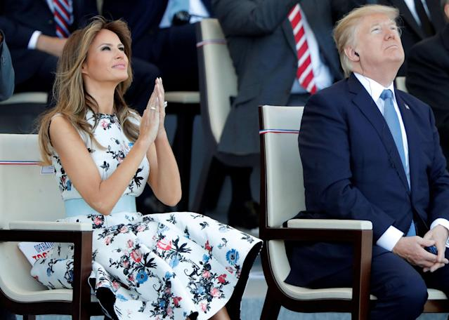 <p>President Donald Trump and First Lady Melania Trump attend the traditional Bastille Day military parade on the Champs-Elysees in Paris, France, July 14, 2017. (Photo: Charles Platiau/Reuters) </p>