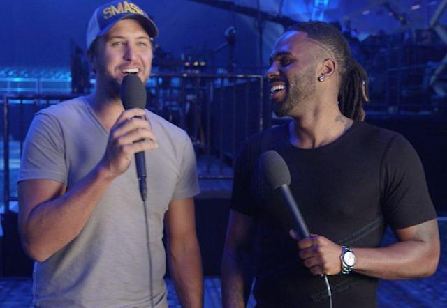 Luke Bryan and Jason Derulo at the 2017 CMT Awards rehearsals.