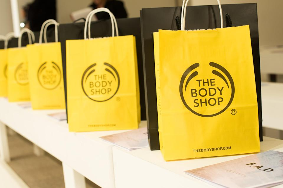 Body Shop gift bags on front row seats at London Fashion Week. (Photo by Nicky J Sims/Getty Images)