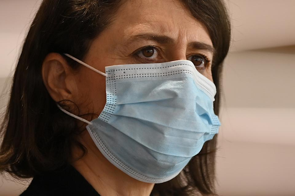 NSW Premier Gladys Berejiklian looks on during a press conference in  Sydney. Source: AAP