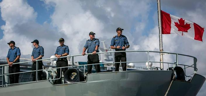 Members of the crew of the Canadian vessel HMCS Shawinigan at Port Everglades in Fort Lauderdale, Florida, on Thursday, Aug. 5, 2021. The crew and U.S. Coast Guard crews offloaded about 59,700 pounds of cocaine and 1,430 pounds of marijuana from multiple Eastern Pacific and Caribbean Sea interdictions.