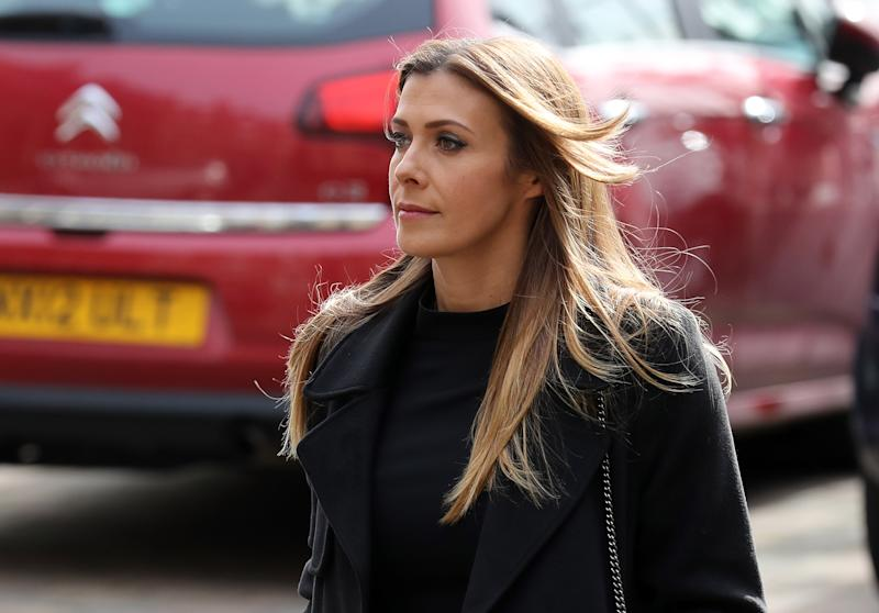 SALFORD, ENGLAND - OCTOBER 06: Actress Kym Marsh arrives at Salford Cathedral on October 6, 2017 in Salford, England. Actress Liz Dawn who died aged 77, played Vera Duckworth in Coronation Street for 34 years. She was diagnosed with lung disease emphysema and was written out of the show in 2008 at her own request. (Photo by Christopher Furlong/Getty Images)