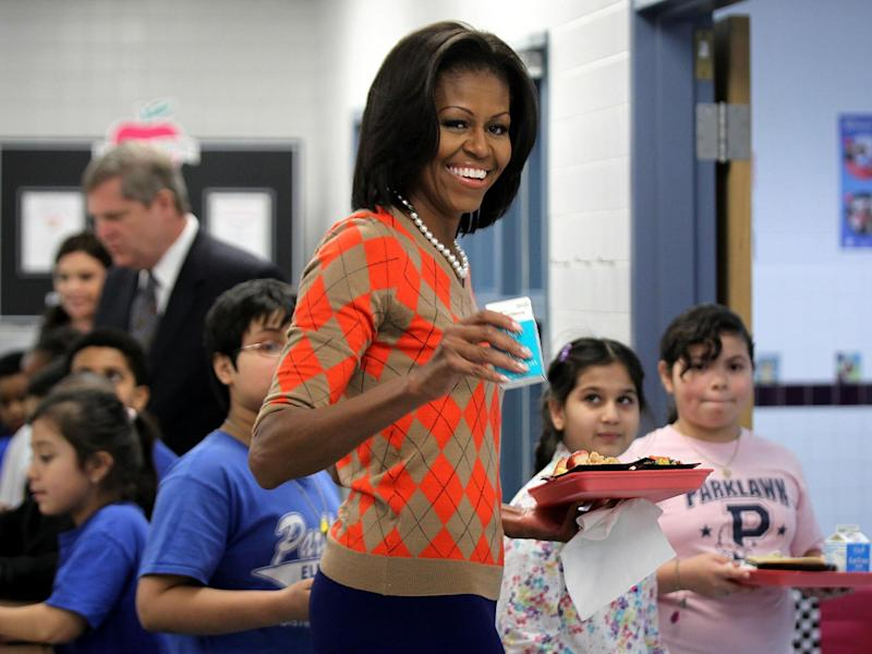 Michelle Obama campaigned for rules restricting levels of salt, fat and sugar in school meals: Getty