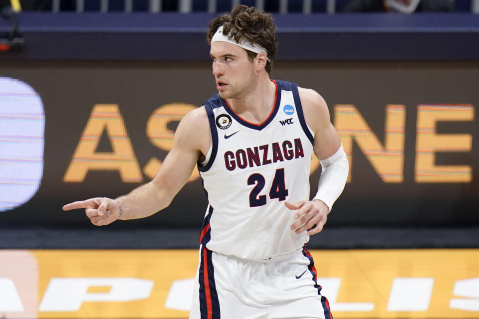 Gonzaga forward Corey Kispert (24) reacts to sinking a three-point shot against Oklahoma in the second half of a college basketball game in the second round of the NCAA tournament at Hinkle Fieldhouse in Indianapolis, Monday, March 22, 2021. (AP Photo/AJ Mast)