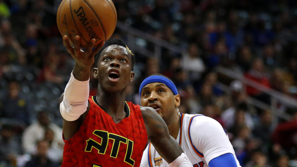 Dennis Schroder and Carmelo Anthony are crossing paths again. (AP)