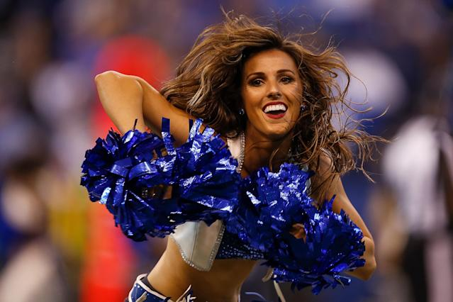 <p>A Indianapolis Colts cheerleader dances during the second half of the game against the Arizona Cardinals at Lucas Oil Stadium on September 17, 2017 in Indianapolis, Indiana. (Photo by Michael Reaves/Getty Images) </p>
