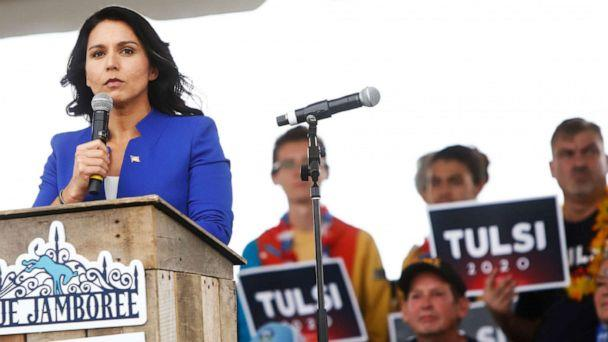 PHOTO: Democratic presidential candidate, Rep. Tulsi Gabbard addresses the crowd at the Blue Jamboree on Oct. 5, 2019 in North Charleston, S.C. (Brian Blanco/Getty Images, FILE)
