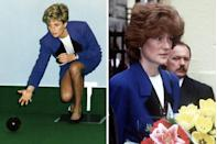 <p>On February 21, 1991, Princess Diana took part in a game of lawn bowling at the opening of the Glasgow Centre for the Deaf. She wore a blue skirt suit with a black collar by Catherine Walker and a white top underneath.</p><p>A year later, on March 23, 1992, her sister Lady Sarah McCorquodale borrowed the outfit and styled it similarly while on tour in Hungary.</p>