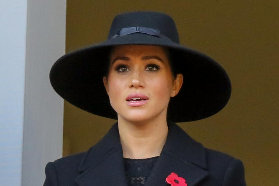 Meghan, Duchess of Sussex attends the annual Remembrance Sunday memorial at The Cenotaph, in Whitehall, London. (Photo by Steve Taylor / SOPA Images/Sipa USA)
