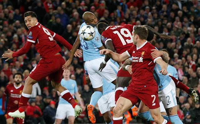 <p>Soccer Football – Champions League Quarter Final First Leg – Liverpool vs Manchester City – Anfield, Liverpool, Britain – April 4, 2018 Liverpool's Sadio Mane scores their third goal REUTERS/Andrew Yates </p>