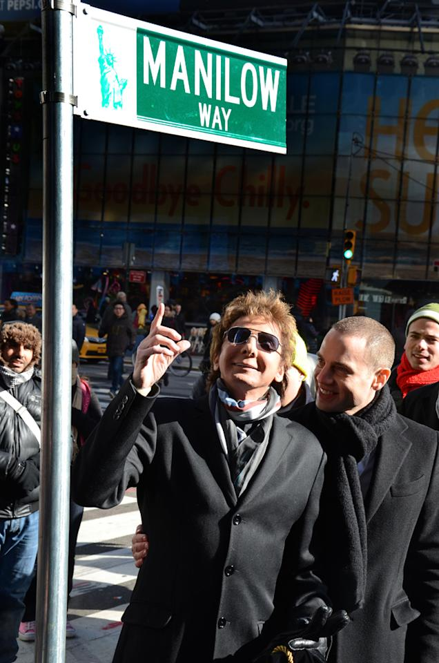 "Barry Manilow at the unveiling ceremony for ""Manilow Way"", the renaming of West 44th Street, Times Square, NYC.