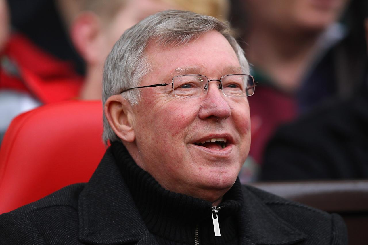 MANCHESTER, ENGLAND - DECEMBER 31:  Manchester United manager Sir Alex Ferguson, smiles as the fans sing happy birthday during the Barclays Premier League match between Manchester United and Blackburn Rovers at Old Trafford on December 31, 2011 in Manchester, England. Manchester United manager Sir Alex Ferguson celebrates his 70th birthday today.  (Photo by Alex Livesey/Getty Images)