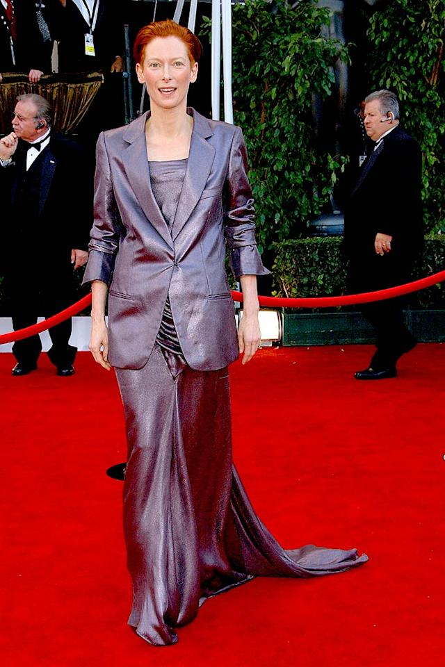 """Tilda Swinton should have gone with a chic pants suit or flowing dress, but unfortunately ended up somewhere in between. Gregg DeGuire/<a href=""""http://www.wireimage.com"""" target=""""new"""">WireImage.com</a> - January 27, 2008"""