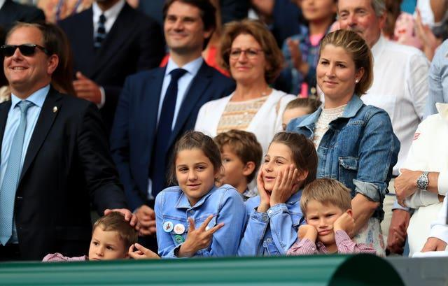 Roger Federer's wife Mirka and four children watch him play at Wimbledon