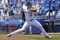 Toronto Blue Jays starting pitcher Trent Thornton delivers to the Tampa Bay Rays during the first inning of a baseball game Monday, May 24, 2021, in Dunedin, Fla. (AP Photo/Chris O'Meara)