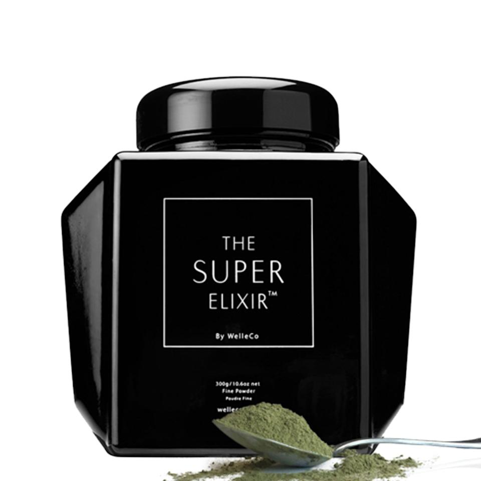 """<h3>WelleCo The Super Elixir</h3><p>Formulated in partnership with a nutritionist, this luxe green powder contains 45 bio-live wholefood ingredients like wheatgrass, spinach, goji berry, turmeric, pomegranate, shitake and maitake mushrooms, açai, and more.</p><br><br><strong>The Super Elixir</strong> Super Elixir Greens, $135, available at <a href=""""https://www.thedetoxmarket.com/collections/wellness/products/the-super-elixir-alkalising-formula"""" rel=""""nofollow noopener"""" target=""""_blank"""" data-ylk=""""slk:The Detox Market"""" class=""""link rapid-noclick-resp"""">The Detox Market</a>"""