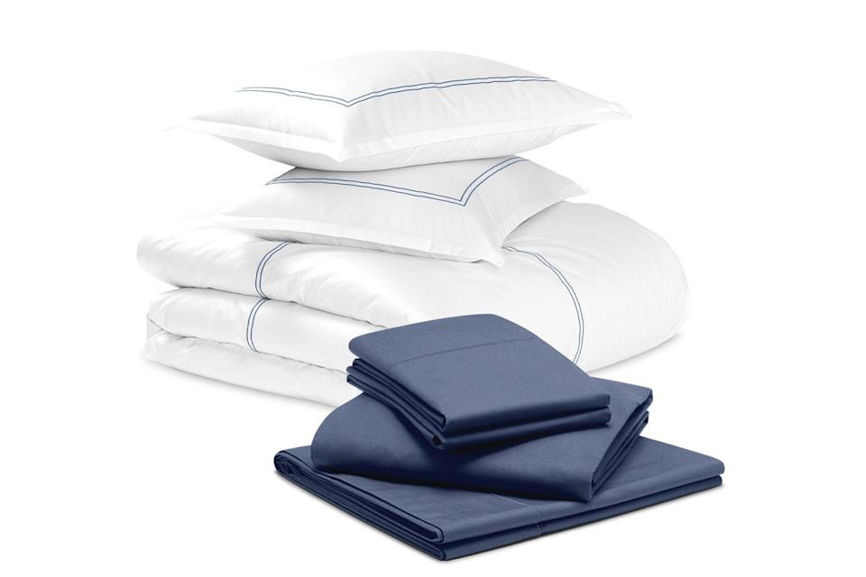 White and navy percale bedding
