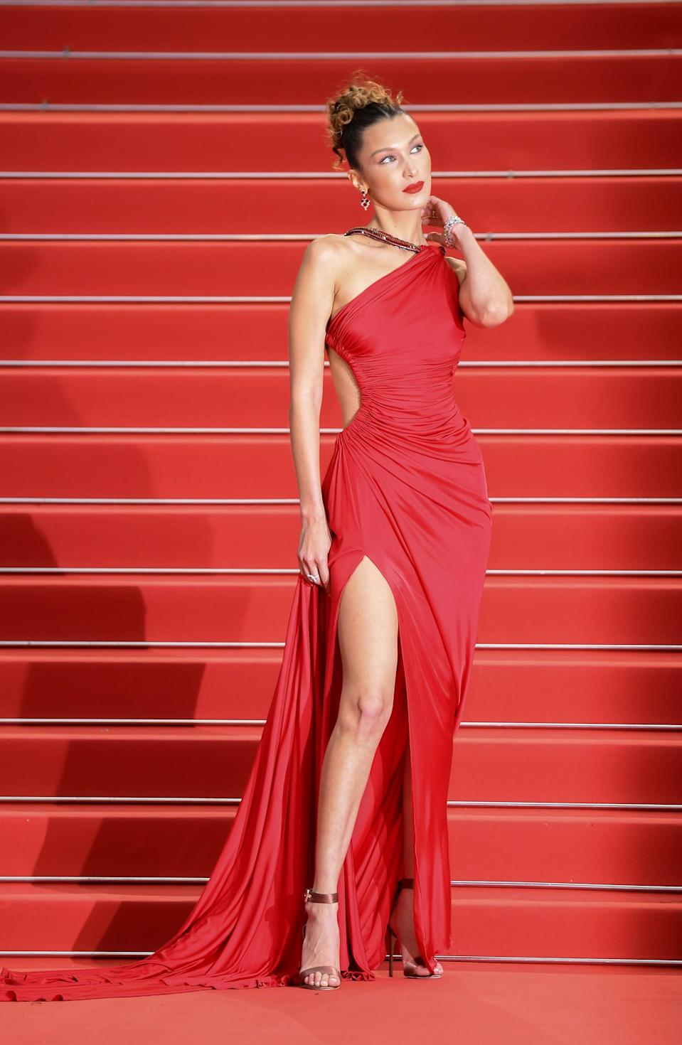 If There's No Built-In Bodysuit in Bella Hadid's Red Dress, Well, Then God Bless Her