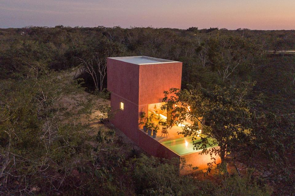 """<p>This Yucatan cottage screams <a href=""""https://www.cntraveler.com/gallery/best-airbnbs-for-romantic-cabin-getaways?mbid=synd_yahoo_rss"""" rel=""""nofollow noopener"""" target=""""_blank"""" data-ylk=""""slk:romantic couples weekend"""" class=""""link rapid-noclick-resp"""">romantic couples weekend</a>, so whether you've been <a href=""""https://www.cntraveler.com/story/7-couples-on-navigating-long-distance-amid-coronavirus?mbid=synd_yahoo_rss"""" rel=""""nofollow noopener"""" target=""""_blank"""" data-ylk=""""slk:long distance"""" class=""""link rapid-noclick-resp"""">long distance</a> from your partner during quarantine or are ready for a vacation away from the kids, this colorful one-bedroom home could be the ideal spot. The dining and living area opens up to a private plunge pool; beyond that is open skies and greenery. The house itself is in the Yucatán jungle, 10 minutes away from the town of Valladolid, and is equipped with the basics: in the kitchen, you'll find a full-sized fridge, a two-burner electric stove, a toaster, and a French press; there's also WiFi, air conditioning, and an open-ceiling shower.</p> <p><strong>Book now:</strong> <a href=""""https://airbnb.pvxt.net/LMEao"""" rel=""""nofollow noopener"""" target=""""_blank"""" data-ylk=""""slk:From $82 per night, airbnb.com"""" class=""""link rapid-noclick-resp"""">From $82 per night, airbnb.com</a></p>"""