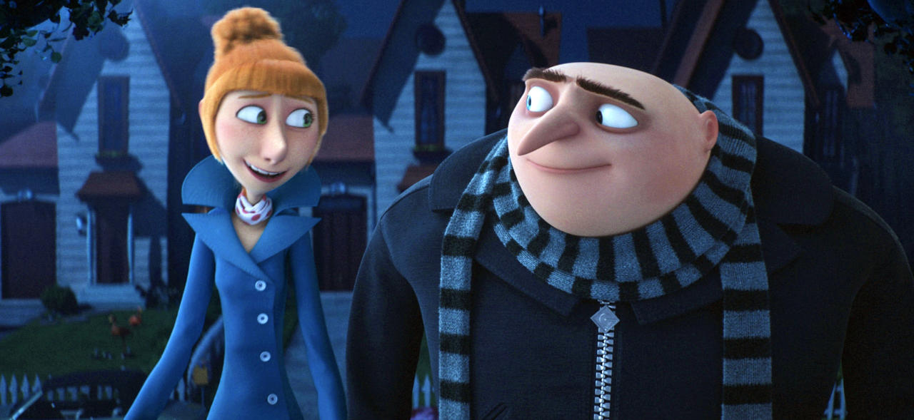 "This image released by Illumination and Universal Pictures shows characters Lucy, voiced by Kristen Wiig, left, and Gru, voiced by Steve Carell in a scene from ""Despicable Me 3."" (Illumination and Universal Pictures via AP)"
