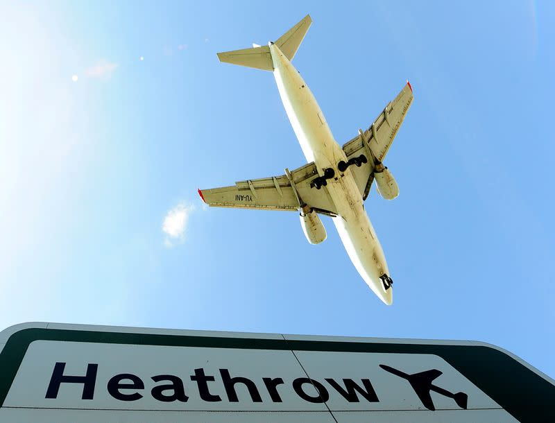 FILE PHOTO: An aircraft comes in to land at Heathrow Airport in west London