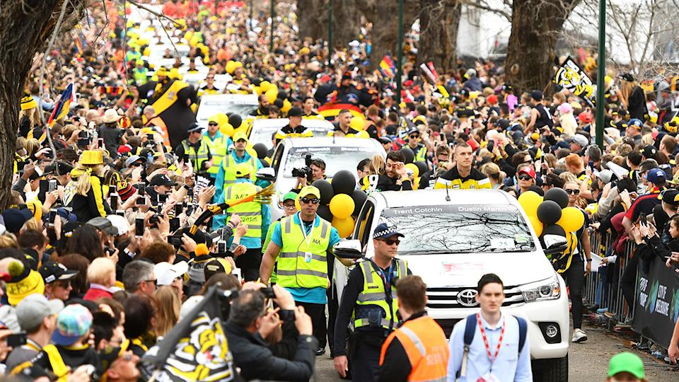 Richmond players, pictured here waving to fans during the 2017 AFL grand final parade.