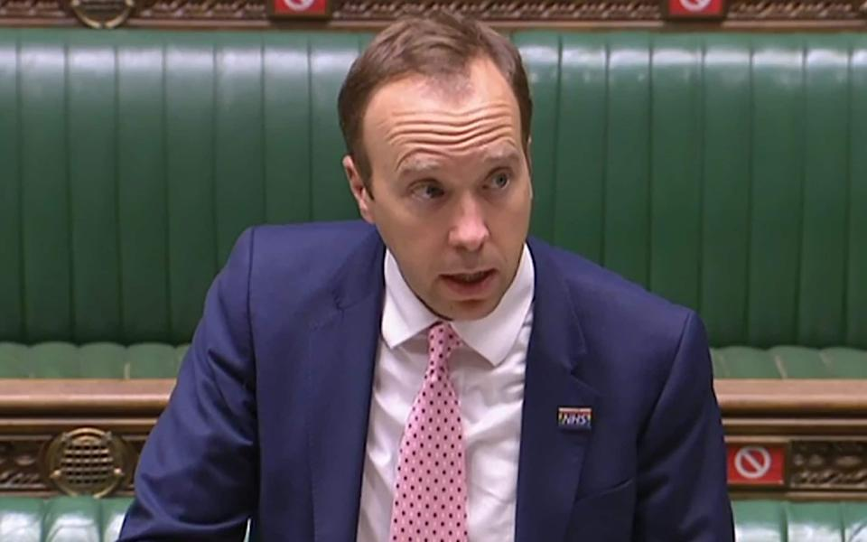 A video grab from footage broadcast by the UK Parliament's Parliamentary Recording Unit (PRU) shows Britain's Health Secretary Matt Hancock updating MPs on the COVID-19 pandemic, in the House of Commons in London on October 20, 2020. - AFP via Getty Images