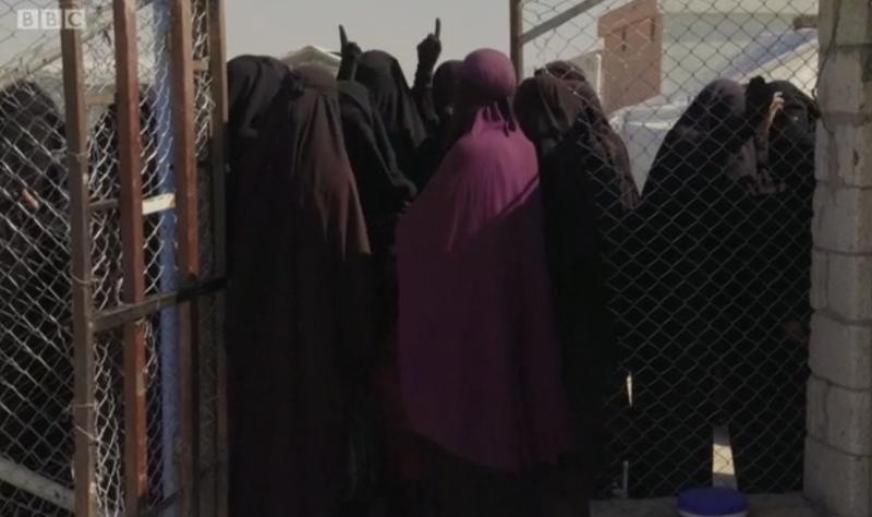 A trailer for the Stacey Dooley Panorama shows a group of ISIS brides pointing to the sky. (BBC)