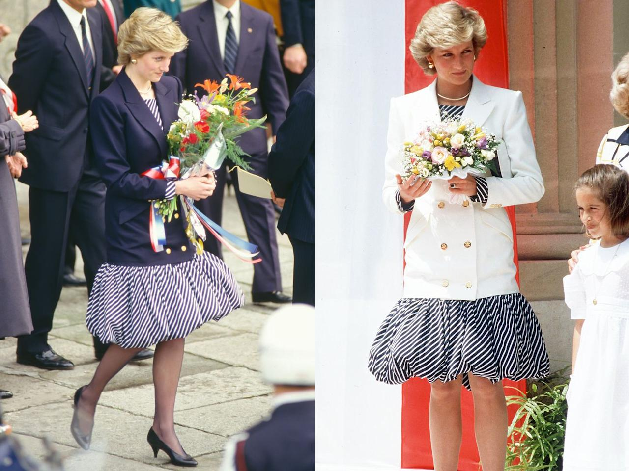 <p>Clearly, Diana brought a few of her favorite looks with her to Lisbon in 1987. The photo on the left shows her on the official visit, and in the picture on the right, she's in Cannes just a few months later, wearing the same skirt, just styled a bit differently.</p>