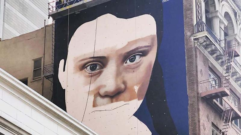 Greta Thunberg's face is plastered on another building, this time in San Francisco