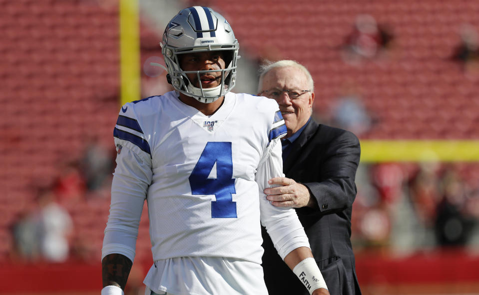Cowboys owner Jerry Jones, right, has had plenty of chances to keep Dak Prescott around long-term. He's just about out of them. (AP Photo/Josie Lepe)