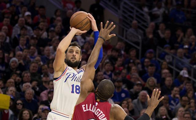 "<a class=""link rapid-noclick-resp"" href=""/nba/players/4296/"" data-ylk=""slk:Marco Belinelli"">Marco Belinelli</a> gave the 76ers new life with a beautiful turnaround buzzer beater. (Getty Images)"