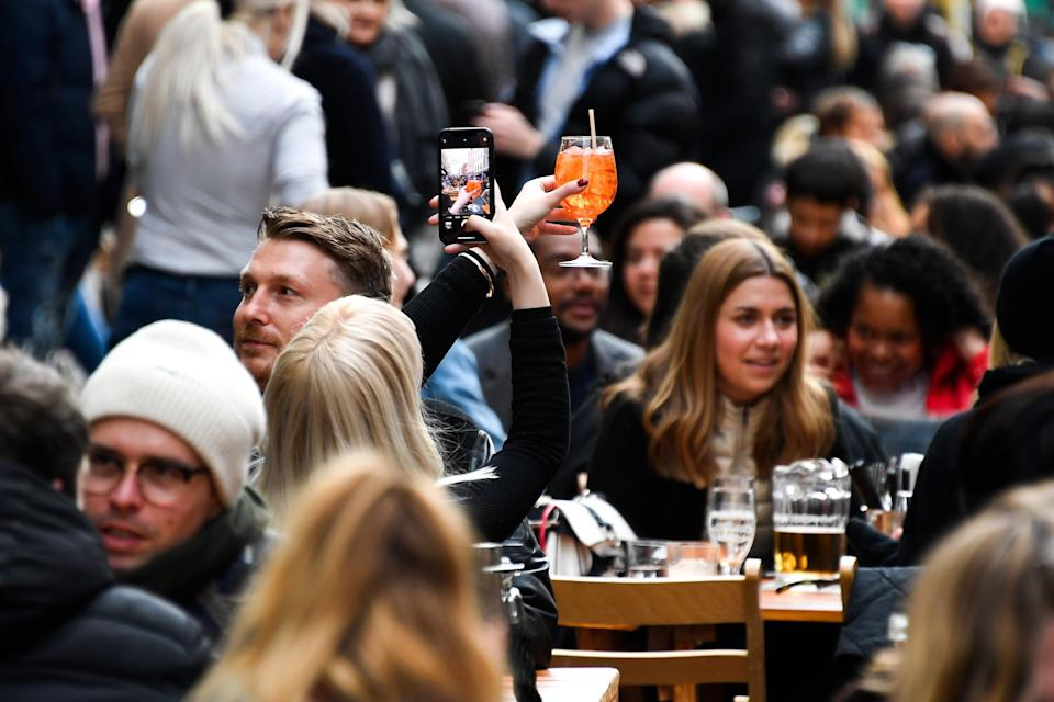 <p>The reopening of outdoor hospitality  is reflected in April's lower unemployment figures</p> (Copyright 2021 The Associated Press. All rights reserved)