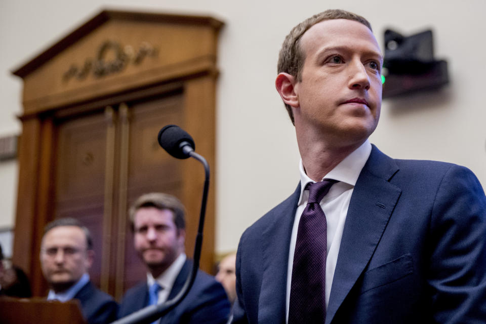 FILE - In this Wednesday, Oct. 23, 2019, file photo, Facebook CEO Mark Zuckerberg arrives for a House Financial Services Committee hearing on Capitol Hill in Washington, on Facebook's impact on the financial services and housing sectors. Ever since Russian agents and other opportunists abused its platform in an attempt to manipulate the 2016 U.S. presidential election, Facebook has insisted, repeatedly, that it's learned its lesson and is no longer a conduit for misinformation, voter suppression and election disruption. (AP Photo/Andrew Harnik, File)