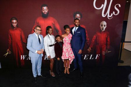 "Director Peele, cast members Nyong'o, Alex, Wright Joseph, and Duke attend the ""Us"" premiere at The Museum of Modern Art in New York City, New York"